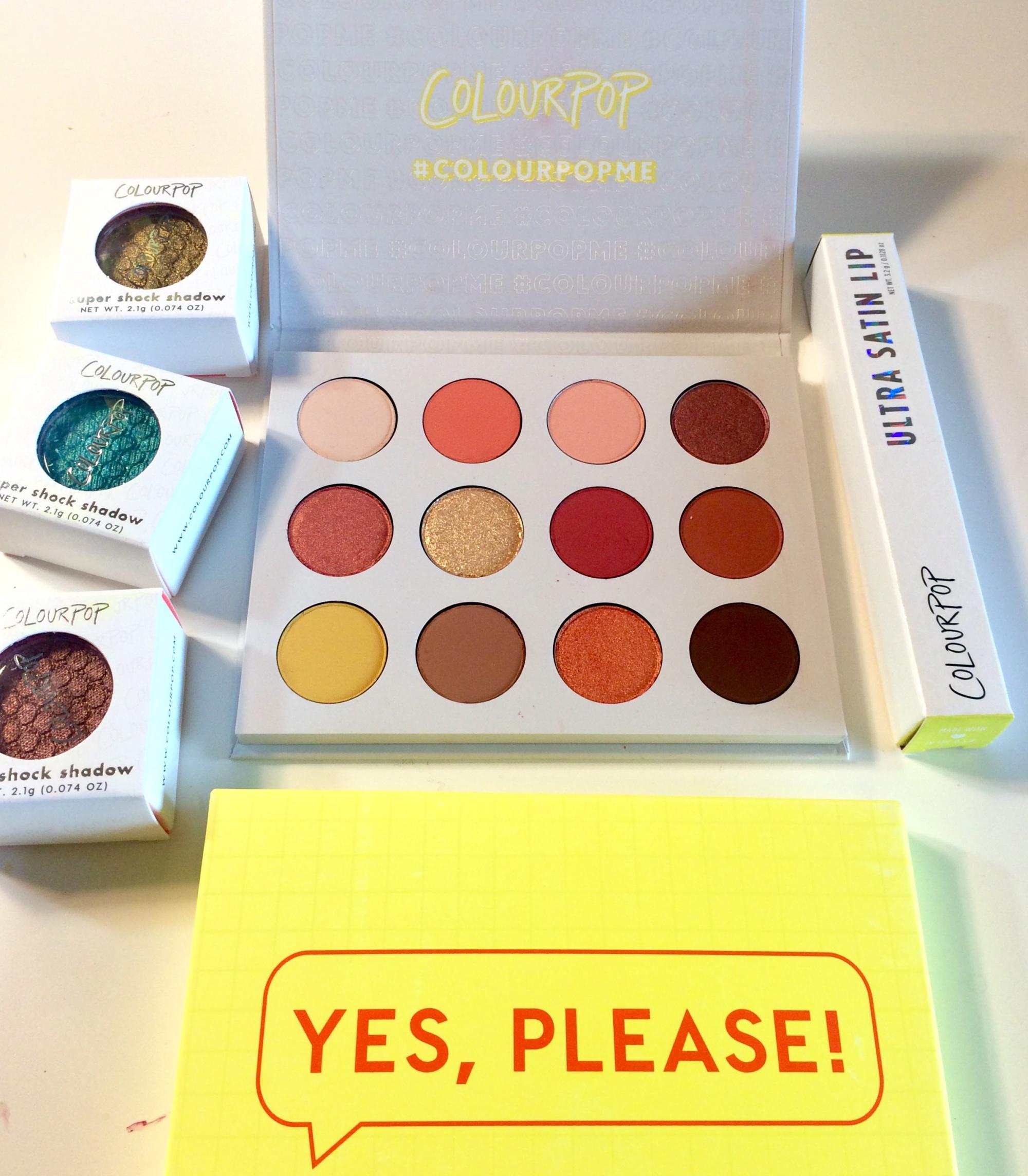 colourpop yes please palette review haul